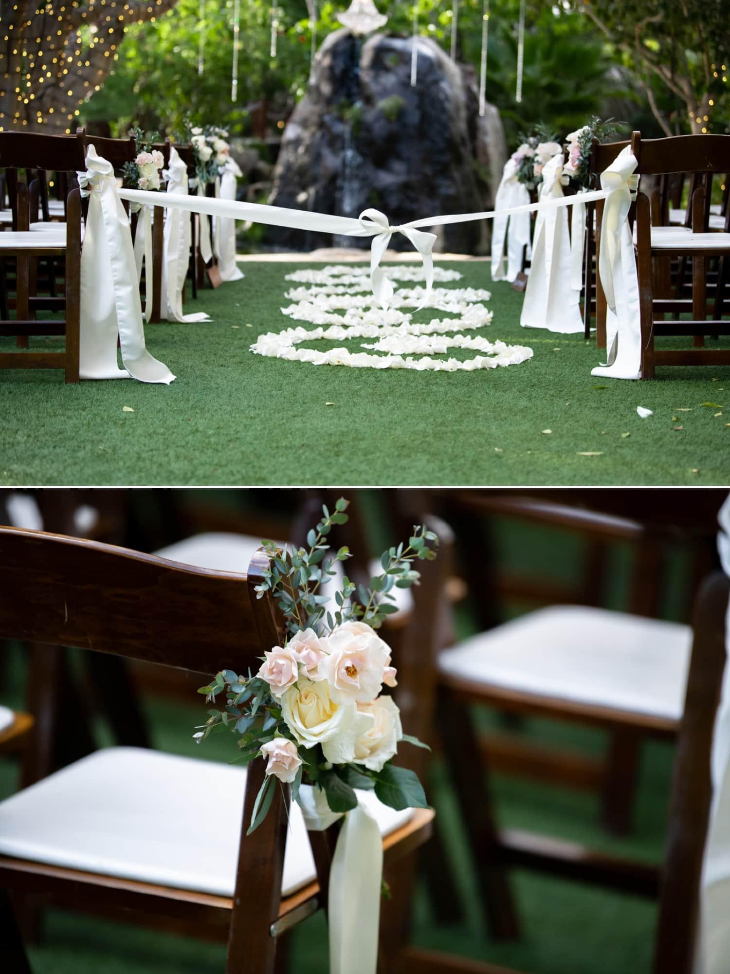 Wedding ceremony site at Botanica wedding venue in Oceanside, CA.
