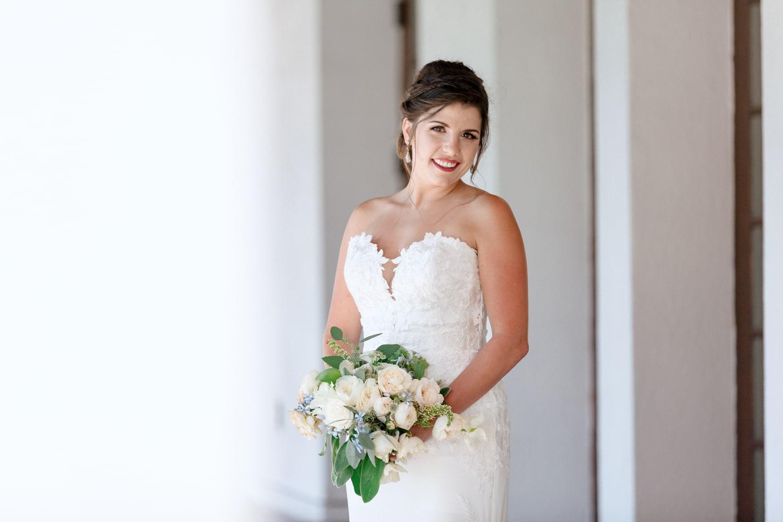Bride with bouquet in Oceanside.