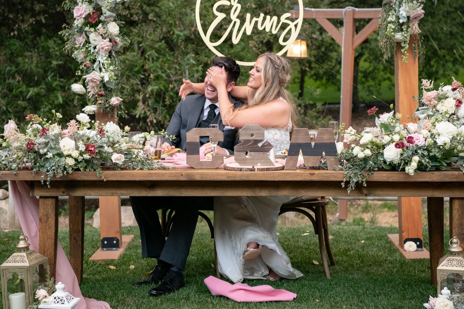 Couples reaction during wedding toasts at The Stone House wedding venue in Temecula, CA