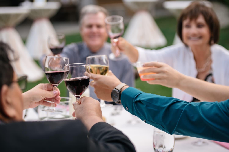 Cheers at Temecula Creek Inn wedding reception