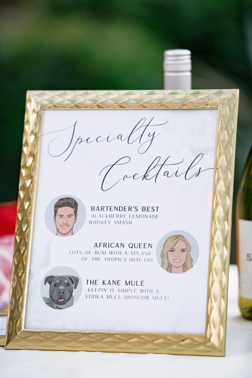 Specialty cocktail sign at Stone House wedding in Temecula, CA.