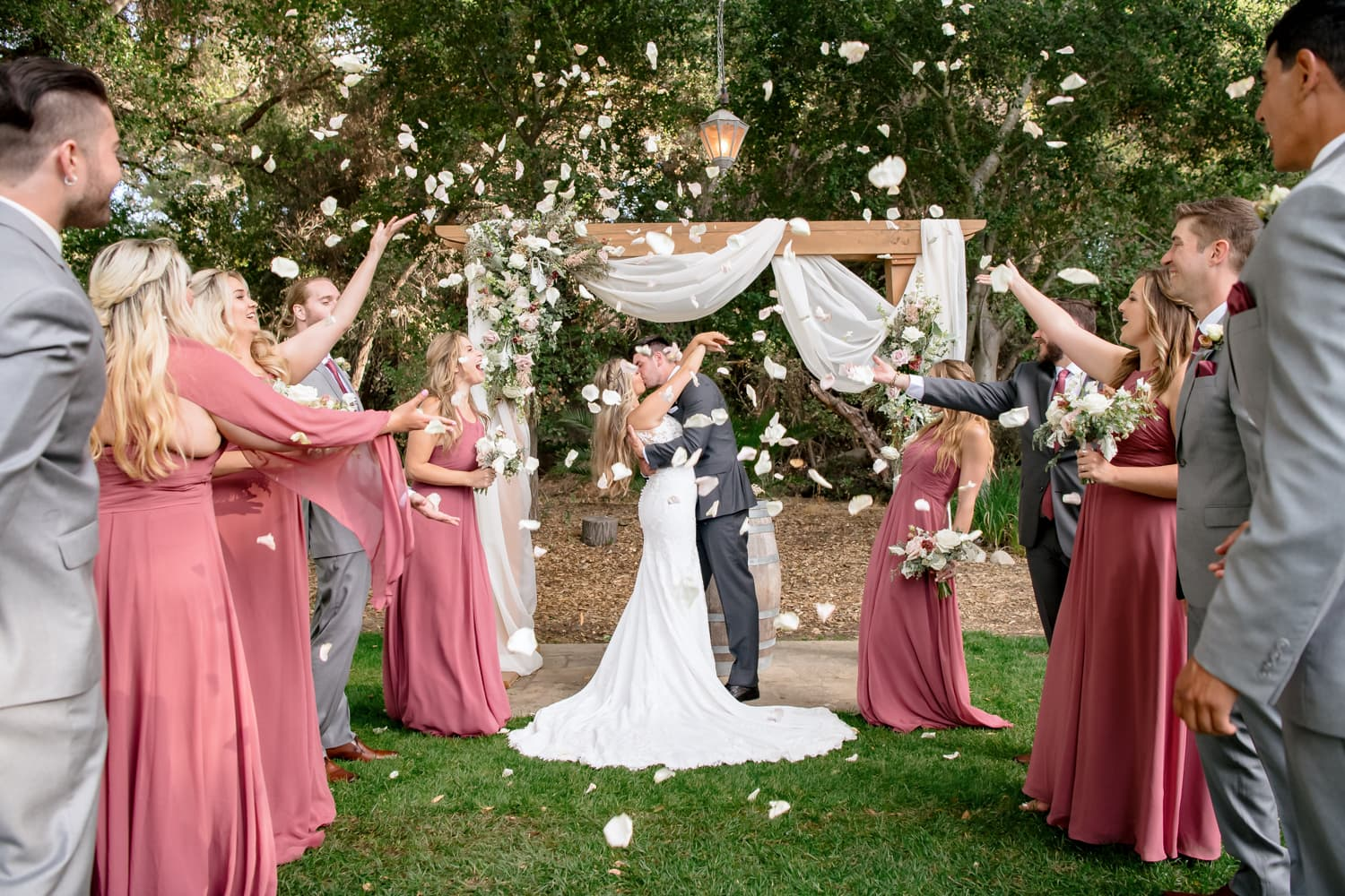 Bridal party petal toss at The Stone House in Temecula, CA
