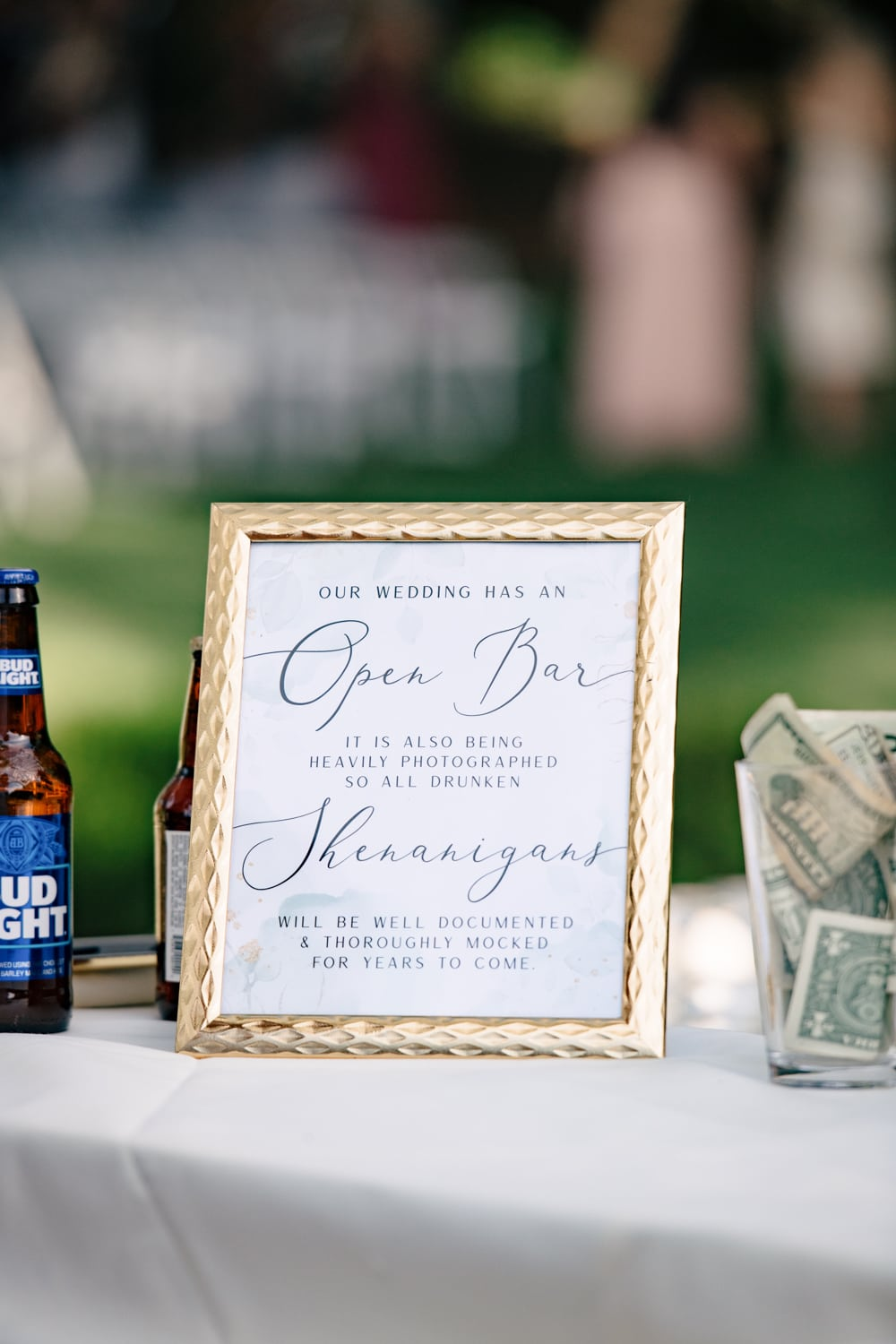Open bar wedding sign at The Stone House in Temecula