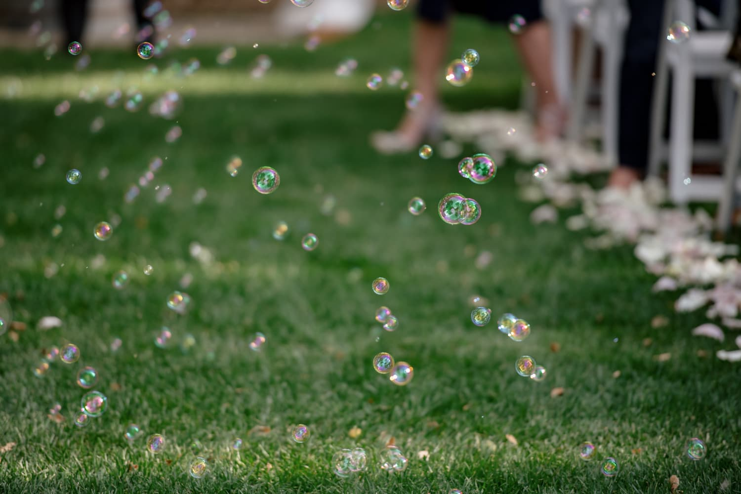 Bubble exit from Temecula Creek Inn ceremony