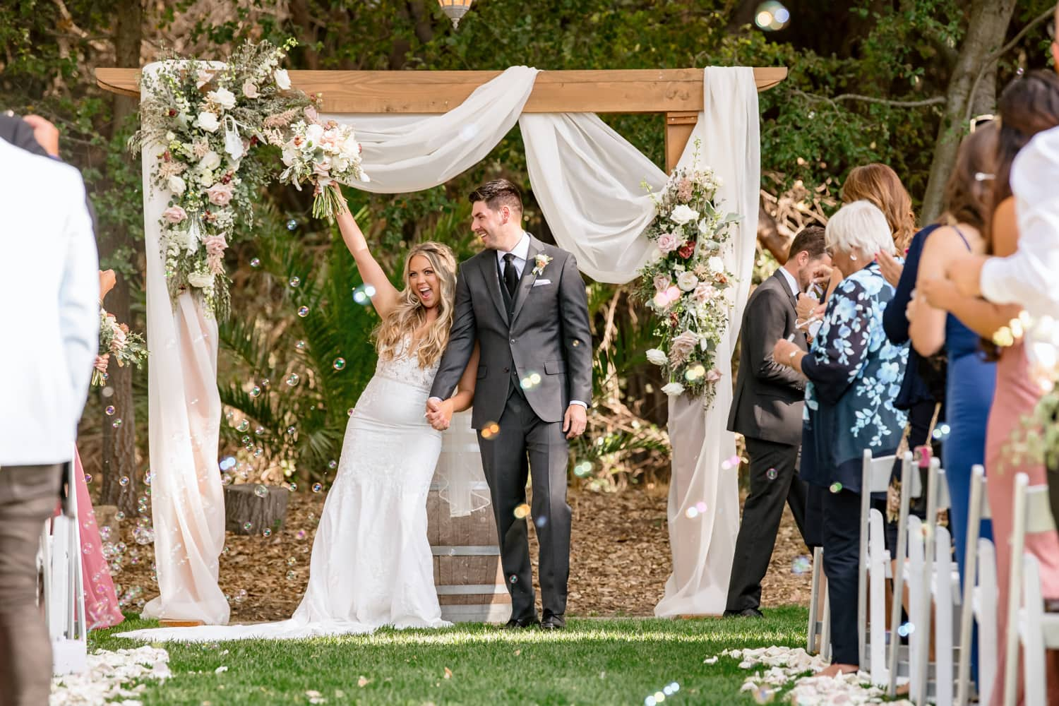 Couple just married at The Stone House Ceremony Site in Temecula, CA