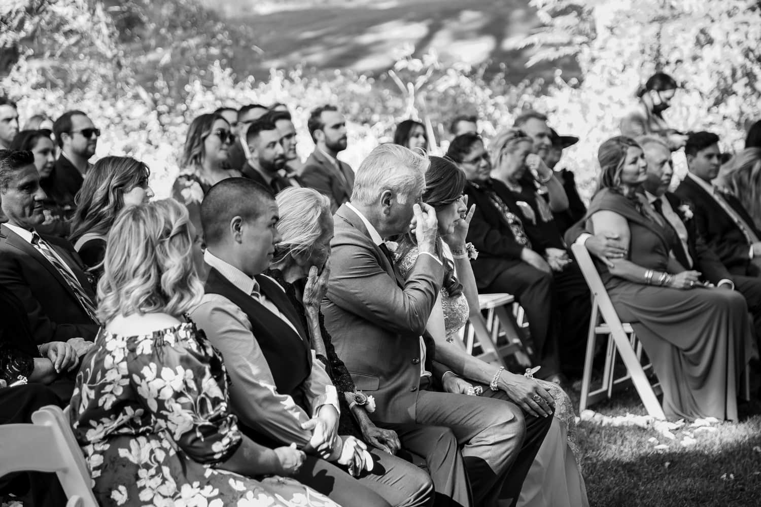 Guests crying during wedding ceremony at The Stone House in Temecula, CA