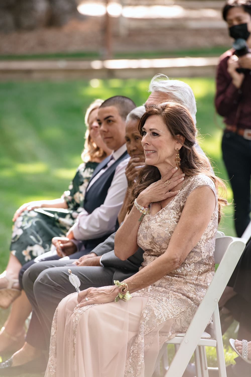 Mother of the groom crying during Stone House ceremony