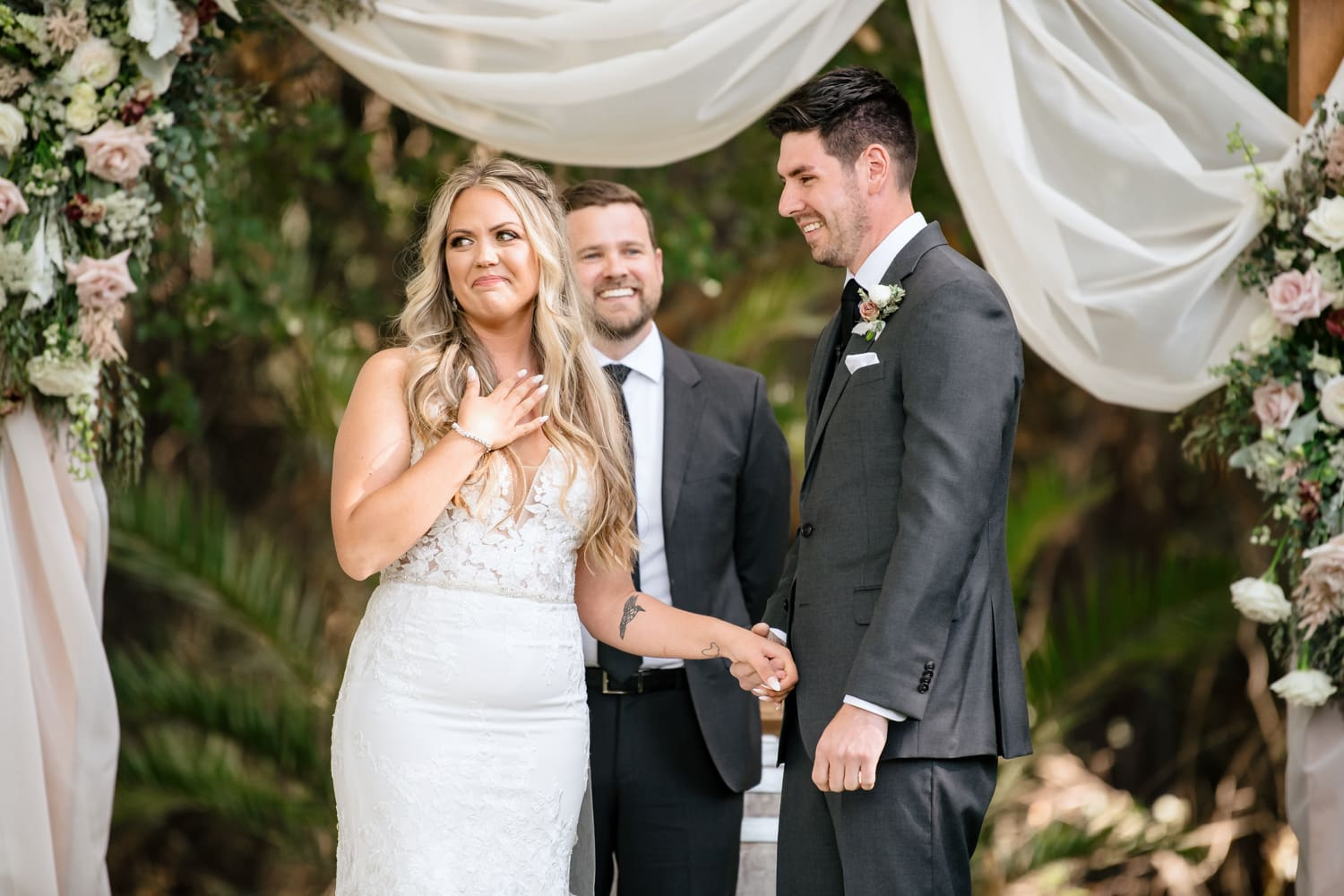 Bride and groom at Stone House wedding ceremony at Temecula Creek Inn