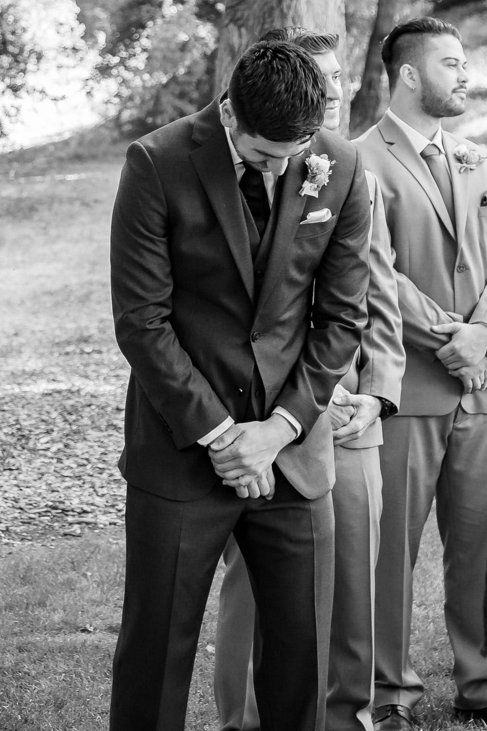 Grooms reaction to seeing bride at The Stone House in Temecula, CA