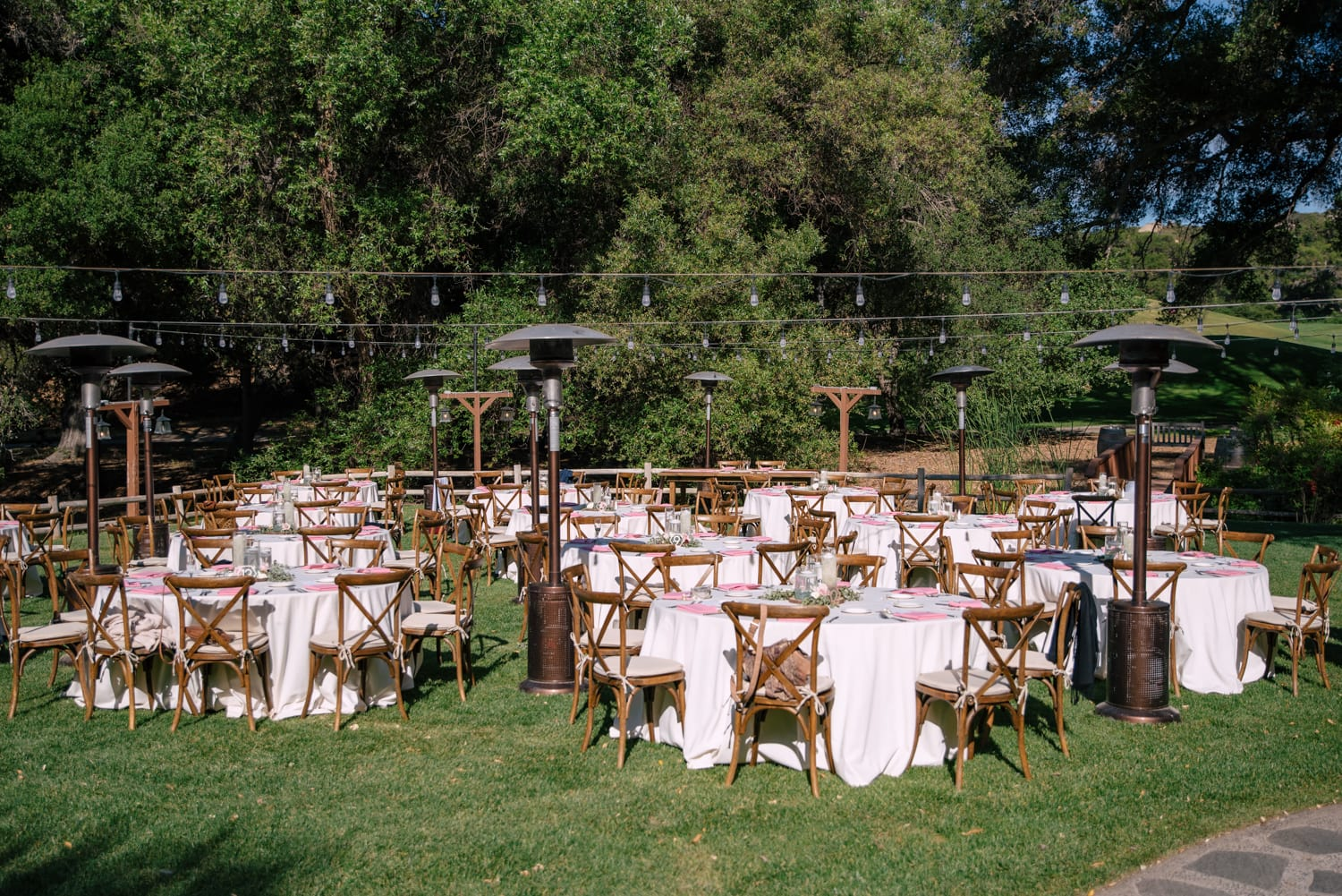 Dining tables at Stone House wedding reception in Temecula, CA.