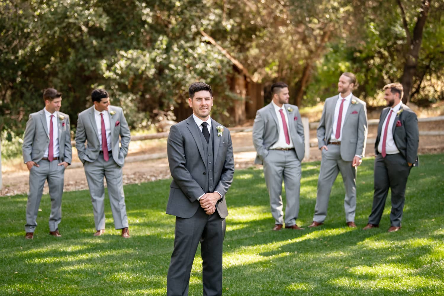Groom with Groomsmen at the Stone House in Temecula, CA.
